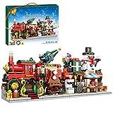 Xligo Weihnachten 2021 Bausteine Serie -838 Teile Weihnachten 1in4 Winterzug mit Lichter Schneemann Modell, Kompatibel mit Lego Weihnachten 2021