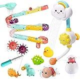 cute stone Badespielzeug, Badewannenspielzeug Set mit Wasserdusche, Kugelbahn, Angelspiel, Schwimmendem Squirting-Spielzeug, für Kleinkinder und Babys ab 18 Monate
