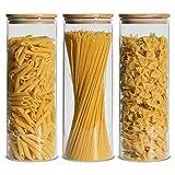 Comsaf 2200ml Luftdichter Vorratsgläser mit Bambusdeckel, 3er Set Aufbewahrungsglas Küche aus Borosilikatglas, Haushalt Glasbehälter Vorratdosen Set für Lebensmittel Spagetti Getreide Bohnen