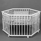 Kinderlaufstall Baby Laufgitter Laufstall 6-eckig + Einlage höhenverstellbar 52304W-D02
