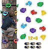 Furuix 12 Ninja Tree Climbing Holds für Kinder Kletterer, Adult Climbing Rocks mit 6 Ratschenbändern für Outdoor Ninja Warrior Hindernisparcours Training