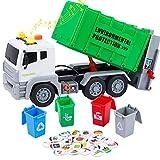 Tacobear Müllauto Müllwagen Spielzeug Großer Lastwagen Müllwagen Spielzeug mit 4 Mülleimer Sound und Licht Fahrzeuge Spielzeug Geschenk für Kinder Jungen 3 4 5 6 7 8 Jahre