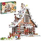 Lebkuchenhaus mit LED Licht Bausatz, Kompatibel mit Lego Creator 10267, Weihnachten 2021(1455 Teile)