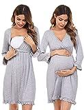 Doaraha Umstandsnachthemd Stillnachthemd Still Nachthemd für Geburt Mutterschaft Schwangerschaft Geburtshemd Schwangere