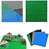 WOWOSS 4 Stück Bausteinplatten, Bauplatte für Classic Bausteine, Plastik Grundplatte, Schwarz, dunkelblau, dunkelgrün, dunkelgrau Premium-Platten für Spielen, Lernspielzeug
