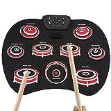 Übungsmatten-Kit für Instrumententrommeln USB-tragbares Spiel mit Pedalbatterie für Anfänger Kinder handgefertigter laminierter elektronischer Desktop DTX Elektronisches Schlagzeug für Kinder und Erwa