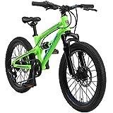 BIKESTAR Kinder Fahrrad Aluminium Fully Mountainbike 7 Gang Shimano, Scheibenbremse ab 6 Jahre | 20 Zoll Kinderrad Fully MTB | Grün
