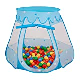 Selonis Baby Spielzelt Mit Plastikbällen Zelt 105X90cm/100 Bälle Plastikkugel Kinder, Blau:Gelb-Grün-Blau-Rot-Orange