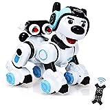 RELAX4LIFE Ferngesteuerter Roboter Hund, intelligentes Roboterhund mit Zielschießplattform, Programmierbarer Roboter Welpen, Singen & tanzen & blinken, Hundespielzeug Kinder, RC Interaktiv (Blau)