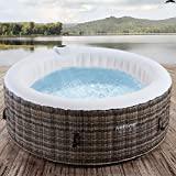 Arebos Whirlpool Granada | Aufblasbar | In- & Outdoor | 4 Personen | Rattan | 100 Massagedüsen | mit Heizung | 800 Liter | Inkl. Abdeckung | Bubble Spa & Wellness Massage