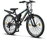 Licorne Bike Guide Premium Mountainbike in 24 Zoll - Fahrrad für Mädchen, Jungen, Herren und Damen - 21 Gang-Schaltung - Schwarz/Blau/Lime