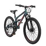BIKESTAR Kinder Fahrrad Aluminium Fully Mountainbike 21 Gang Shimano, Scheibenbremse ab 9-14 Jahre | 24 Zoll Kinderrad Vollgefedert MTB | Grün