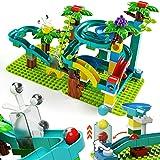 burgkidz Rennstrecken mit Hand Flip Gravity Hammer und handbetriebenem Aufzug, 124 Stück Big Track Bausteine Spielzeug mit Bällen und Grundplatte für Jungen Mädchen