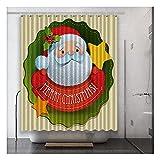 DSMGLRBGZ Duschrollo Für Badewanne Anti Schimmel, Weihnachtsmann Kunst Digitaldruck Polyester Tuch 180 X 180 Cm-200 X 180 cm Wasserdichtes Schnelltrocknend,C,200 X 180 cm