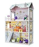 Eichhorn 100002510 - Puppenhaus aus Holz, inklusive Möbel, unmontiert,14-tlg., Größe: 38x84x123,5cm