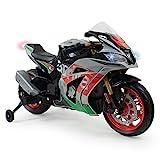 INJUSA - Motorrad Racing Aprilia 12V für Kinder über 3 Jahre mit Leuchten, Sounds und Gummibänder an den Rädern, Mehrfarbig (64900)