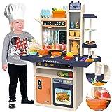 Kinderplay Kinderküche Spielküche Spielzeugküche Küchenset - Licht, Wasser, Dampf, Ton, 65 Küchenzubehör, Die Höhe beträgt 93,5 cm vom Boden bis zur Arbeitsplatte 46cm, KP9294