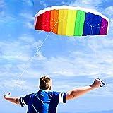 QTER Regenbogen-Drache, großer Zweilinen-Lenkdrachen mit Griff, für Kinder und Erwachsene, bunte Drachen, Outdoor, Surfen, Spaß, Strand, Sport, Spielzeug mit Flugwerkzeug-Set, 1,2 m