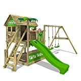 FATMOOSE Spielturm Klettergerüst TapaTaka mit Schaukel & apfelgrüner Rutsche, Stelzenhaus mit Sandkasten, Leiter & Spiel-Zubehör