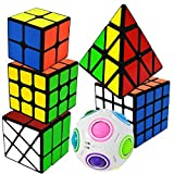 EASEHOME Zauberwürfel Set Pyraminx + 2x2x2 + 3x3x3 + 4x4x4 + Magische Regenbogenball + Fenghuolun 6 Pack Speed Puzzle Cube Magic Cubes Zauber Würfel PVC Aufkleber für Kinder und Erwachsene