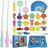 Angeln Spielzeug, 46 Stück Magnetisches Angelspiel Badespielzeug Badewannenspielzeug Wasserspielzeug Badewanne mit Entsprechende Fischkarte für Kleinkinder Kindern, Outdoor Spiele Lernspiel Kinder