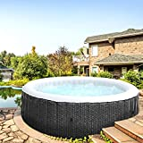 BRAST Whirlpool aufblasbar MSpa Ottoman 6 Personen Ø204x70cm In- Outdoor Pool 138 Massagedüsen Timer Heizung Aufblasfunktion TÜV