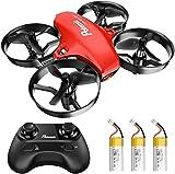 Potensic Mini Drohne für Kinder und Anfänger mit 3 Akkus, RC Quadrocopter, Mini Drone mit Höhenhaltemodus, Start / Landung mit einem Knopfdruck, Kopflos Modus, Spielzeug Drohne Helikopter A20 Rot