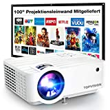 Mini Beamer, TOPVISION 5500 LUX Heimkino Video Beamer mit 240 Zoll Screen, Native 720P Unterstützt 1080P Full HD Mini projektor, 60000 Stunden LED Beamer Kompatibel mit HDMI/USB/SD/AV/VGA