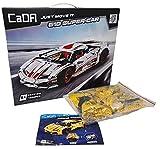 CaDA Super-Car 1:10, weiß + gelbes Bodykit, 1979 Teile (OHNE Motoren, kompatibel mit Lego Technic), C61018W D011-001