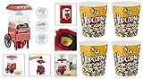 Retro Design Popcornmaschine + 4 XXL Popcorneimer I Popcorn Maker Maschine 1200 Watt I Heißluft ohne Fett und Ölfrei I Poppcorn Party Popper Machine I Rot/Red Edition I