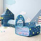 OldPAPA Kinderzelt Spielzelt, Traumzelt Pop-up Kriechtunnel und Bällebad 3 in 1 Innen Spielhaus Tragbar Ideal für Baby Kleinkinder Jungen Mädchen(Blau)