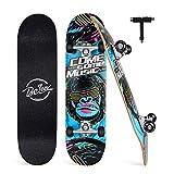 BELEEV Skateboard Erwachsene 31x8 Zoll Komplette Cruiser Skateboard für Kinder Jugendliche Anfänger, 7-Lagiger Kanadischer Ahorn Double Kick Deck Concave mit All-in-one Skate T-Tool(Blau)