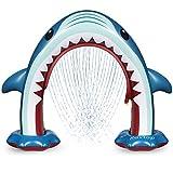 Rovtop Aufblasbare Arch Hai Sprinkler Kinder - Sommer Riesen Kinder Wasserspielzeug Outdoor für Jungen und Mädchen, Große Garten Shark Sprinkler für Kinder, Baby, Hund und Haustiere