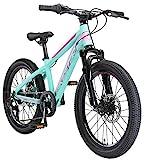 BIKESTAR Kinder Fahrrad Aluminium Mountainbike 7 Gang Shimano, Scheibenbremse ab 6 Jahre | 20 Zoll Kinderrad MTB | Mint Pink
