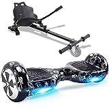 Windgoo Hoverboard, 6.5' Self Balance Scooter mit Hoverkart, Elektro Skateboard für Kinder Elektroroller mit Bluetooth und LED-Lichtern Solider Sitz Spielzeug für Kinder