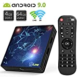 Android TV Box【4G+64G】- TV live Smart TV Box, Amlogic S905X2 Quad Core 64 Bit 64bit Cortex-A53/unterstützt WiFi 2.4G/5.0G /Bluetooth 4.1/ 4K/HD/USB 3.0/ HDMI 2.0a/H.265 Smart tv Box Android Box