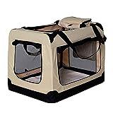 lionto by dibea Hundetransportbox Hundetasche Hundebox faltbare Kleintiertasche Größe (M) 60x42x44 cm Farbe Beige
