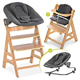 Hauck Alpha Plus Newborn Set mit Premium Bouncer - Baby Holz Hochstuhl ab Geburt mit Liegefunktion - extra flacher Aufsatz für Neugeborene & Baumwolle Sitzpolster - Natur Dunkelgrau