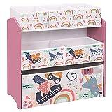 EUGAD 0002ETSJ Kinder Aufbewahrungsregal Spielzeugregal Bücherregal Spielzeugkiste Kinderkommode Kindermöbel 3 Schichten mit 6 Kisten aus MDF Rosa
