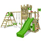FATMOOSE Spielturm Ritterburg BoldBaron mit Schaukel, SurfSwing & apfelgrüner Rutsche, Spielhaus mit Sandkasten, Leiter & Spiel-Zubehör