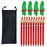 Sourceton Outdoor Tent Insert Pegs, 10-teilige Tent Pegs und 4er Pack 4mm Reflective Guy Lines mit Cord Adjustment & Bag