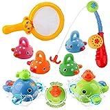 BBLIKE Baby Badespielzeug, Badewanne Spielzeug mit Angelrute und Fischernetz, Uhrwerk Schwimmbad Spielzeug Für Baby und Kleinkinder ab 18 Monaten