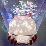 Micacorn Sternenhimmel Projektor Lampe, Kinder LED Nachtlicht mit 6 Projektion Films, 3 Licht Modus USB Aufladen 360° Drehbar für Geburtstage, Halloween, Weihnachtsgeschenke, Kinderzimmer Dekoration