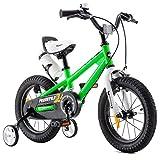 RoyalBaby Kinderfahrrad Jungen Mädchen Freestyle BMX Fahrrad Stützräder Laufrad Kinder Fahrrad 18 Zoll Grün