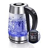 Aigostar Glas Wasserkocher mit Temperatureinstellung, 2-in-1 Teekocher mit Teesieb, 2200W 1.7L, Temperatureinstellung 60°-100°C Farbwechsel LED Beleuchtung, 120 Minuten Warmhaltefunktion, BPA-Frei