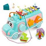 DeeXop Baby Spielzeuge Pädagogisches Intellektuelles Bus,Kleinkind Lernspielzeug für Musik, Form und Farbe,für 12-18 Monate+ Aktivität Würfel Spielzeug Bus enthält Xylophon
