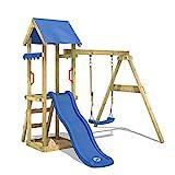 WICKEY Spielturm Klettergerüst TinyWave mit Schaukel & blauer Rutsche, Kletterturm mit Sandkasten, Leiter & Spiel-Zubehör
