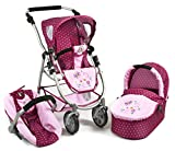 Bayer Chic 2000 637 29 Kombi-Puppenwagen Emotion 3-in-1 All In, Lila, Rosa