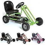 Hauck T90105 Lightning Go-Kart - Kinderfahrzeug, Reifen mit Gummiprofil, Handbremse für beide Hinterräder, 3-fach verstellbarer Schalensitz,grün