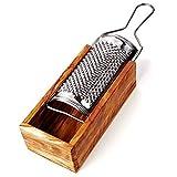 Parmesan-Reibe mit Auffang-Behälter aus Olivenholzholz, 2teilig incl Reibe:19cm x6cm x5cm